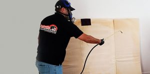 Technician sprays for bed bugs