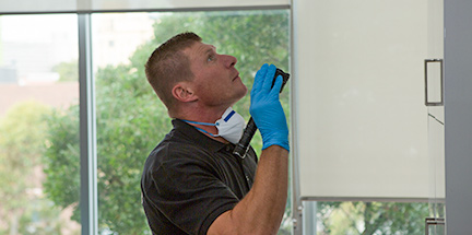 Pest controller surveying for flying pests